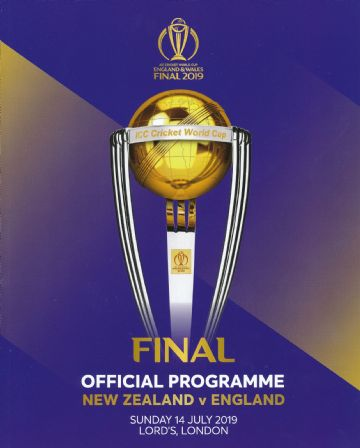 2019 CRICKET WORLD CUP FINAL PROGRAMME  - England v New Zealand @ Lords 14th July